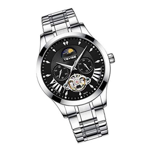 P Prettyia Reloj de Pulsera Mecánico Automático para Hombres Reloj Analógico de Fase Lunar con Banda de Acero Inoxidable, Reloj de Tourbillon Luminoso Impermeabl - Negro