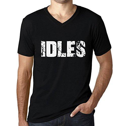 Herren Tee Männer Vintage V neck T shirt IDLES Noir Schwarz Weißer Text
