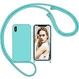 Nupcknn Funda Silicona con Cuerda para iPhone X/iPhone XS, Carcasa Suave Silicona Case con Correa Colgante Ajustable Collar Correa de Cuello Cadena Cordón(Azul Glaciar)