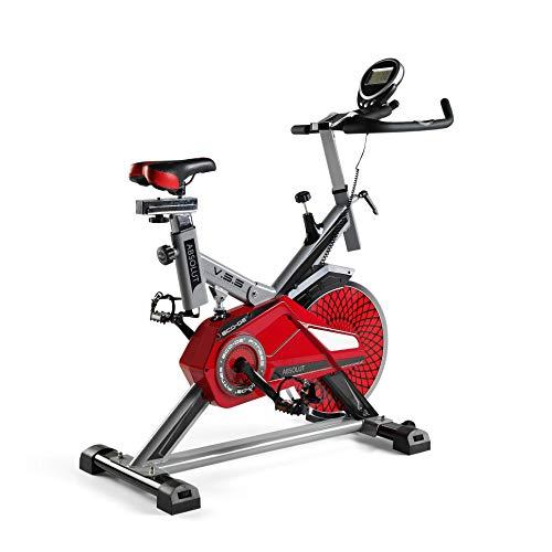 ECODE Bicicleta Spinning Absolut. Uso semiprofesional con pulsómetro, Pantalla LCD y Resistencia Variable. Estabilizadores. Completamente Regulable.