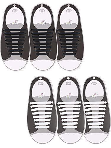6 Paar Schnürsenkel, ohne Binden, Silikon, elastisch, Sportschuh-Schnürsenkel (schwarz, weiß)
