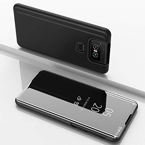 SWMGO® Spiegelüberzug Clear View Standfunktion Flip Hülle für Asus Zenfone 6 ZS630KL/Asus Zenfone 6z/Asus Zenfone 6 2019/Asus 6z (Schwarz)