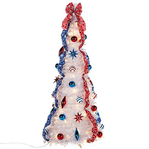 HOLIDAY PEAK 4' Americana Patriotic, Red, White and Blue, Pull-Up Tree with LED Lights
