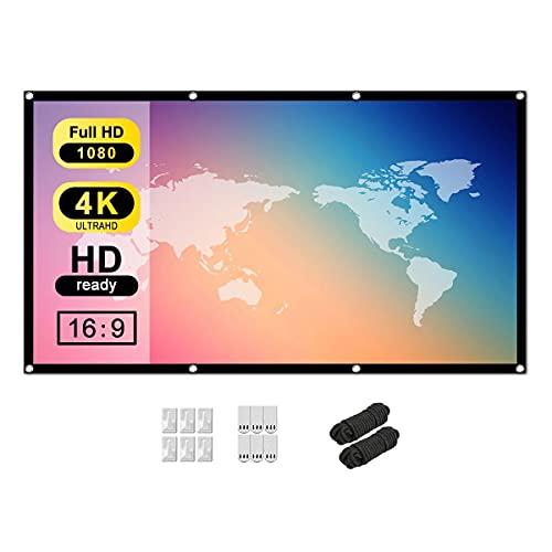 Tiardey - Pantalla de proyector HD de 60 Pulgadas 16: 9 para Interiores y Exteriores, portátil, Pantalla Plegable, para Cine en casa, Compatible con proyección a Doble Cara, Cortina Suave
