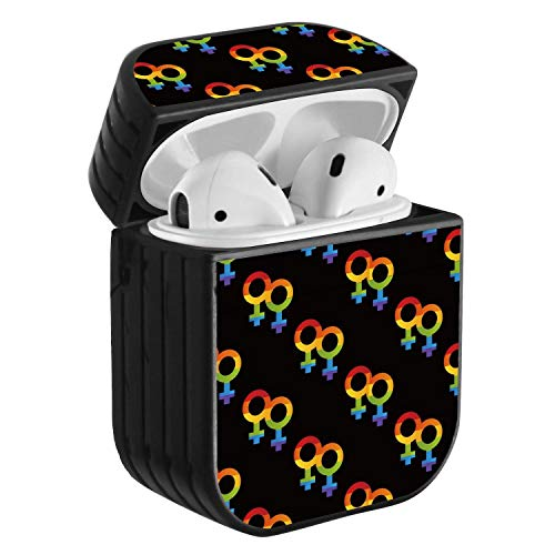 Compatible with Airpods 2 & 1, Shockproof Portable Protective Hard Cover Case with Neck Lanyard Strap - LGBT Lesbian Pride