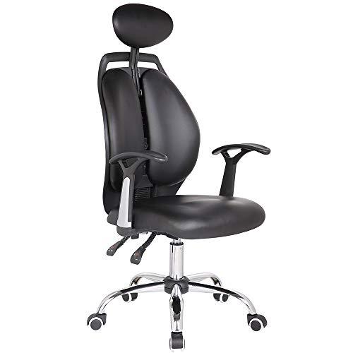 JXHD Ergonomische Gaming Chair/E-Sport Stuhl/Recliner/Drehsessel, Hohe RüCkenlehne Kann Heben Und Senken BüRostuhl, Stoff Oder Leder, Multi-Color Optional,Black-Leather