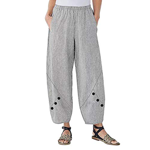 Lazzboy Plus Size Frauen Hohe Taille Streifen Knopf Weites Bein Hosen Lose Weiten Hose Haremshose Tasche Baumwolle Leinen Neunte(Grau,3XL)