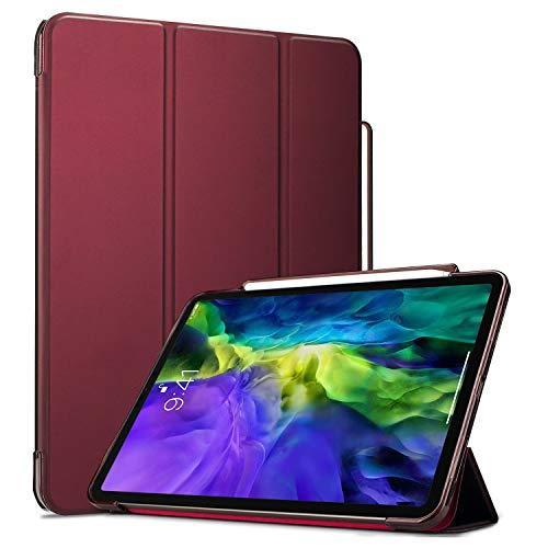 ProCase Hülle für iPad Pro 11 Zoll 2020 2nd Gen Flexibel TPU Rückseite Abdeckung Schutzhülle, Slim Smart Cover Case mit Stifthalter, Auto Schlaf/Wach Funktion -Wein