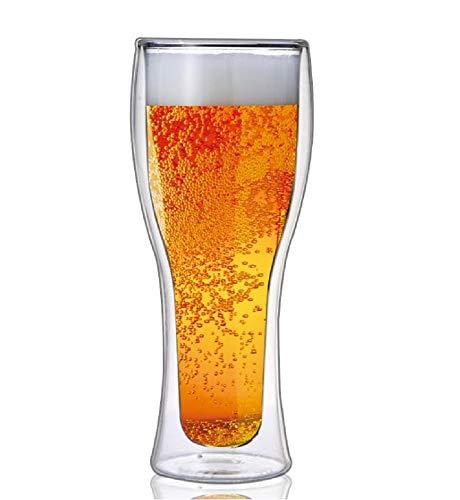 【morning place】 ダブルウォール ビール グラス ビアグラス タンブラー お洒落 スタイリッシュ 500ml (1個)