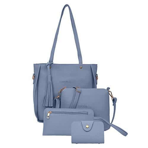 Dorical Damen Handtasche 4 Pcs Set Damen Elegant Handtasche Schultertasche Portemonnaie Tragetasche Taschen Handtaschen Crossbody Schultertasche Leichte Stylische Bag Frauen (One size, Z-Blau)