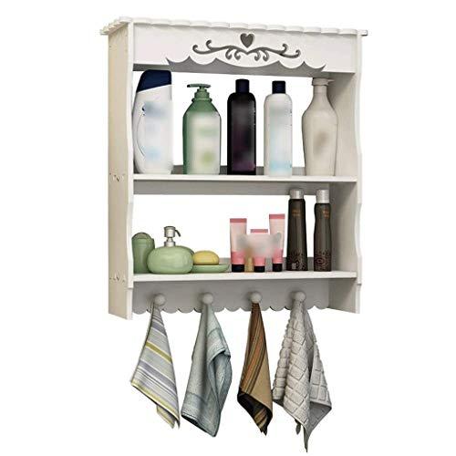 ZLMMY Almacenamiento en rack de 2 niveles de utilidad de almacenamiento Organizador ajustable de la capa del estante del cuarto de baño Estantes toallero Multifuncional Cocina Sala de estar montado en
