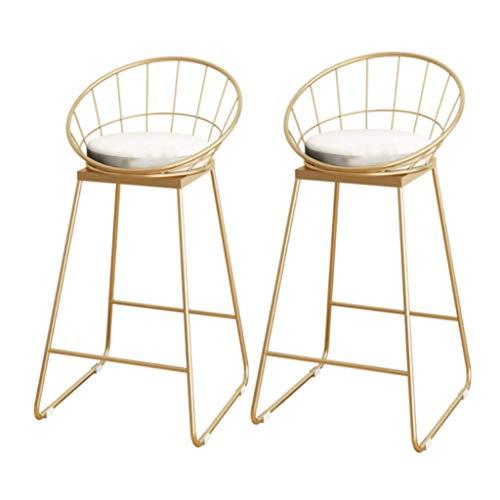 Daily Equipment Sillas de barra de bar Colección moderna de taburetes altos |Taburete de bar moderno con cojín de esponja, mostrador, sillas de desayuno con patas de metal dorado pulido (juego de