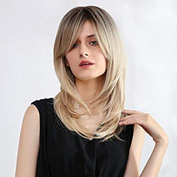 Ombre Blonde Wig with Bangs Synthetic Long Straight Wigs for Women Brown Roots Blonde Hair Layered Shoulder Length Hairstyle Fiber Highlight Multicolor Wigs(Ombre Blonde)