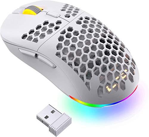 LTC Mosh Pit Mouse da gioco 16.000 DPI RGB wireless ambidestro con guscio a nido d'ape leggero, forma ergonomica per l'uso con la mano destra o sinistra, comodi mouse 2.4G