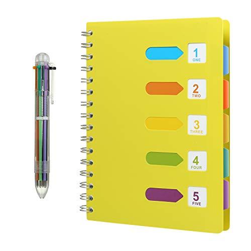 Kesote A5 Taccuino ad Anelli con Etichette di 5 Colori e Una Penna a Sfera di 6 Colori A5 Quaderno per Scuola, Ufiicio o Casa, 120 Fogli, Giallo