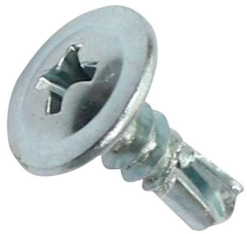 AERZETIX - Juego de 100 - Tornillos para chapa Autoperforante - Cabeza grande Abombada - Ø4.2x13mm - Acero galvanizado - Huella Phillips/Cruciforme - Bricolaje - Renovación - C44674