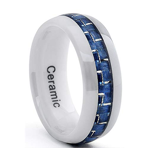 Metal Masters Co. White Ceramic Men's Wedding Band with Blue Carbon Fiber Inlay, Comfort Fit Ring, 8mm Size 7.5
