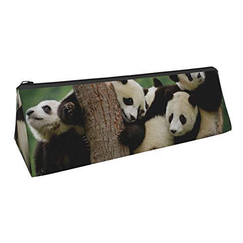 Lindo Pandas Triángulo Estuche de Lápiz Titular de Cremallera Gran Capacidad de la Pluma Bolsa de la Bolsa de Estudiantes Papelería Cos