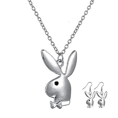 ABRC 2020 Nuevo éxito Hip Hop Conejo Playboy Collar del Partido del oído del Conejito de Playboy Collar Pendiente de la joyería Collier Femme