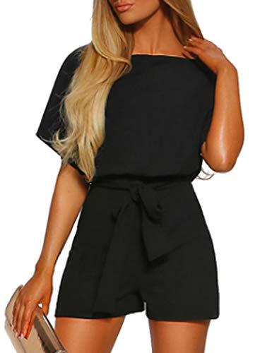 Vetinee Womens Black Summer Casual Belted Romper Keyhole Back Short Sleeve Jumpsuit Playsuit Medium