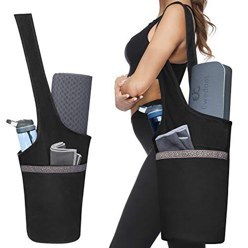 Ewedoos Yoga Taschen aus Baumwoll-Canvas für meisten yogamatte & Yoga-Zubehör (Schwarz)