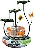 Fuente de cerámica Tabletop Fountain Tabletop Fuente interior Pequeño acuario Casa Oficina Decoración de oficina, Cascada Tanque de pescado con humidificador Afortunado Decoración Cascada Fuente