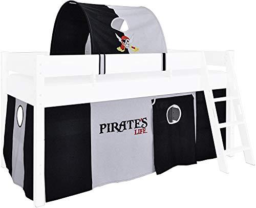 XXL Discount Piraten Vorhang und Tunnel für Kinderbett, Spielvorhang Hochbett, 3-teilig, 100% Baumwolle Stoffvorhang Bettvorhang Stoff-Set für Spielbett