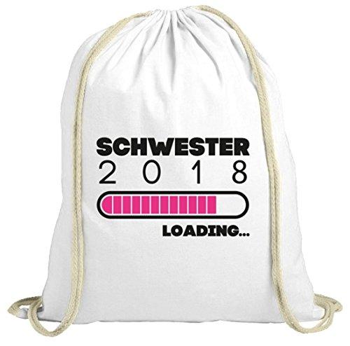 ShirtStreet Geschenkidee Geburtstag Geburt natur Turnbeutel Gym Bag Schwester 2018 Loading, Größe: onesize,weiß natur