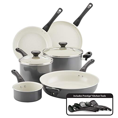 Farberware Go Healthy Nonstick Cookware Pots and Pans Set with QuiltSmart Technology, 14 Piece, Gray,13354