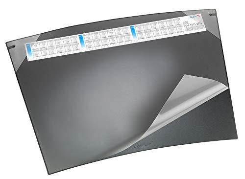 Läufer 41592 Schreibunterlage Durella Soft Trapez mit Kalender, 70 x 50 cm, schwarz