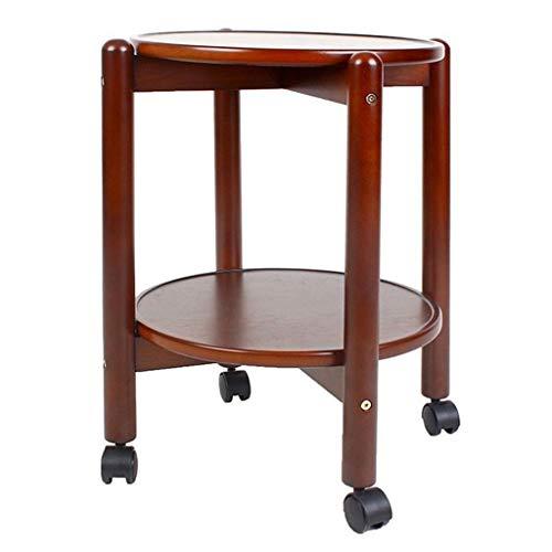 Mesitas de Salón Para el Café Estilo pequeño, pequeña mesa redonda, mesa de centro, doble almacenamiento, rueda universal, adecuada for el espacio de oficina del dormitorio de la sala de estar (marrón