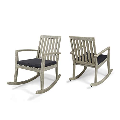 Great Deal Furniture Yvonne Patio Rocking Chairs, Acacia Wood Frames, Cushioned, Traditional, Light Gray Wire-Brush Finish with Dark Gray (Set of 2)