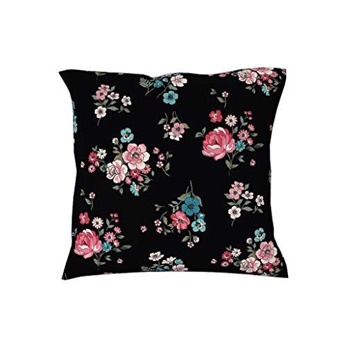Charzee zwart gekleurde kleine bloemenpatroon Office kussenslopen hoezen sierkussen hoezen voor landhuis terras 45x45 cm polyester blend plant
