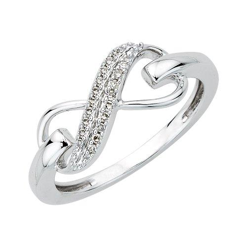 Dos Fila infinity de diamante anillo en plata de ley (1/20quilates)