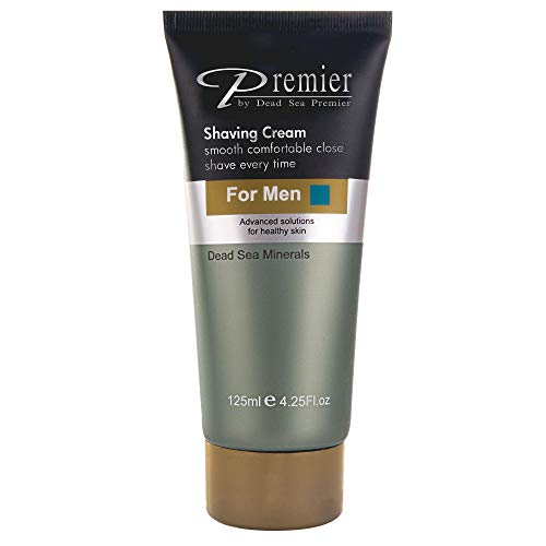 Premier Dead Sea Shaving Cream for Men, sensitive skin, protects from nicks, cuts, razor burns and ingrown hair, for close shave, doesn't contain soap, gentle and protective for soft beautiful skin,4.2fl.oz