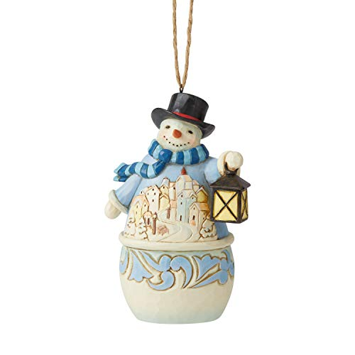 Enesco Jim Shore Snowman with Village Scene Christmas Tree Ornament 6006678
