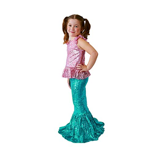 Butterfly Craze Pink Top with Turquoise Skirt Girl's Mermaid Costume – Birthdays, Halloween or Dress-Up - Large Ages 5-6