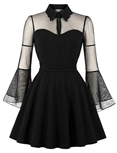 FeelinGirlKleid Maxikleid Retro Boho Kleid Rundhalskleider Halloween Kostüm Langarm Kleid...