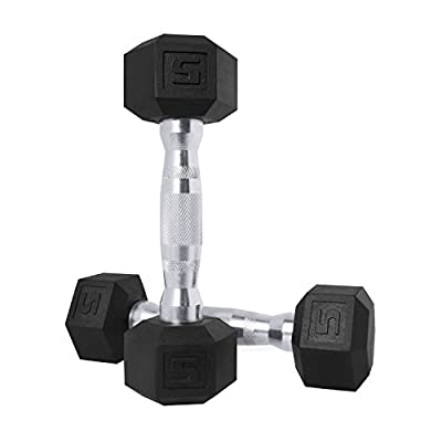 CAP Barbell SDPP-010 Color Coated Hex Dumbbell, Black, 5 pound, Pair