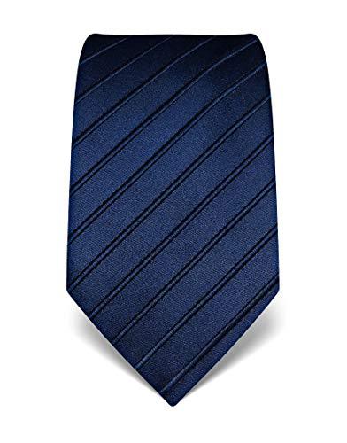 Vincenzo Boretti Herren Krawatte reine Seide Ton in Ton gestreift edel Männer-Design zum Hemd mit Anzug für Business Hochzeit 8 cm schmal/breit dunkelblau