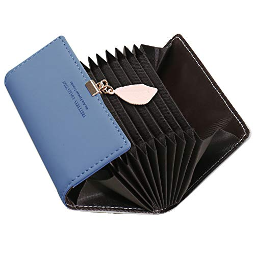 Kreditkartenetui Damen, SAMKING Frauen Leder RFID-Schutz Kartenhalter Geldbörse Klein Geldbeutel Reißverschluss Portemonnaie (Dunkelblau)