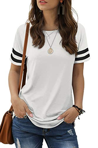 Womens Summer Tops Short Sleeve Striped Cute Solid Color T Shirts White M