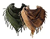 100% Cotton Military Shemagh Scarf for Men Tactical Mens Head Scarf Wrap Arabian Scarf 43'x43' Pack of 2