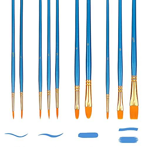 Amazon Basics Paint Brush Set, Nylon Paint Brushes for Acrylic, Oil, Watercolor, 10 Brush Sizes