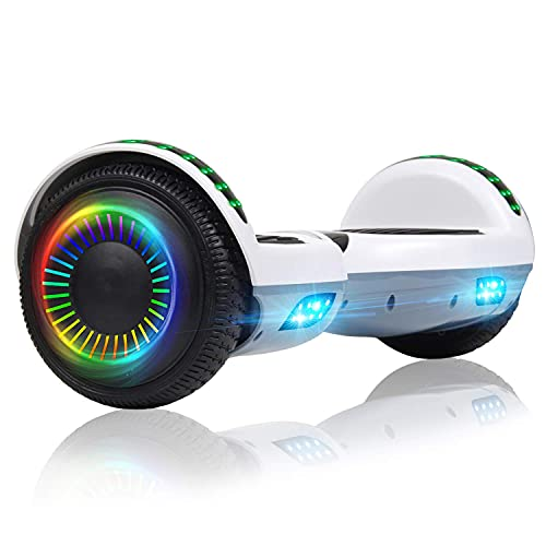Felimoda Hoverboard for Kids and Adults, 6.5' Two-Wheel Self Balancing Hoverboard with Bluetooth Speaker & LED Lights(A1-White Gray)