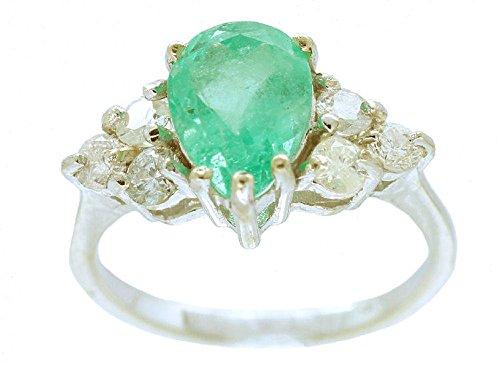 3.20ct esmeralda colombiana y diamante anillo de racimo en 14 K oro blanco