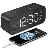 MOSUO Sveglia Digitale, Orologio Ricaricabile USB, Sveglia da Comodino LED Grande Schermo con 2 Allarme, Snooze, Registratore, Suoni e Luminosità Regolabile, Controllo Vocale, Specchio, Ne