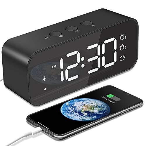 MOSUO Sveglia Digitale, Orologio Ricaricabile USB, Sveglia da Comodino LED Grande Schermo con 2 Allarme, Snooze, Registratore, Suoni e Luminosità Regolabile, Controllo Vocale, Specchio, Nero