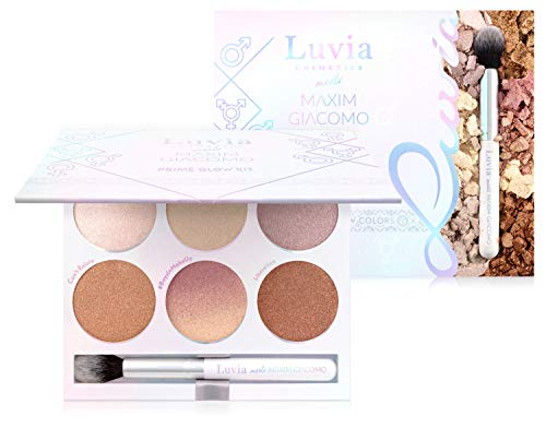 Highlighter Palette Vegan, Prime Glow Kit Inkl. Highlighter Pinsel, Boysinmakeup Designed By Maxim Giacomo & Luvia Cosmetics