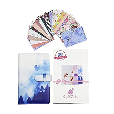 Instant Camera Mini Photo Album Bundle with 96 Photo Pockets & 20 Different Designed Border Stickers - Compatible with Polaroid Mint Snap Touch Z2330 PIC-300P Canon Ivy CLIQ Instax Fujifilm (Blue) from SophiaSophia